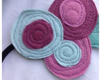 40% OFF- The Little Garden Bloom- Felt Headband-Brooch-blue and Purple Triple Bloom