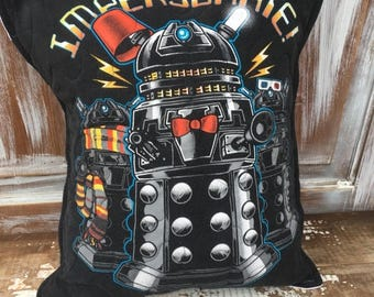 CRAZY SALE- Dr Who Throw Pillow--Upcycled Eco Friendly-Quilted-