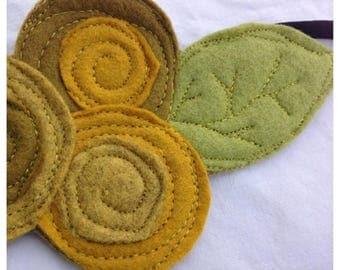 CRAZY SALE- The Little Garden Bloom- Felt Headband-Brooch-Yellow Triple Bloom
