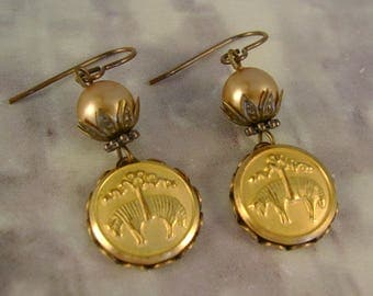 Fleeced - Vintage Brooks Brothers Golden Fleece Buttons Vintage Pearls Recycled Repurposed Jewelry Earrings