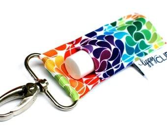 LippyClip® Lip Balm Holder for Chapstick, Burt's Bees, etc. |  Clip-On Keychain | Rainbow Swirls