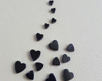 Mixed lot heart shaped hematite beads