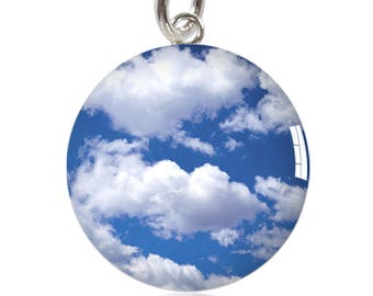 Blue Cloudy Sky Sterling Silver Meniscus Charm Pendant