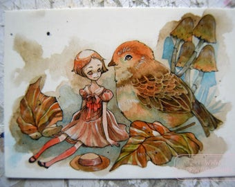 PostCard - Art Card - Fairy Tale - Little People - Childrens Art - friendship - Cute - Autumn - Birds - Anime - Chatting with a Friend