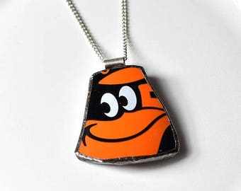 SUMMER SALE Broken Plate Pendant on Chain - Baltimore ORIOLES - Recycled China