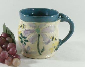 Save the Bees Teacup, Ceramics and Pottery, Coffee Cup, Contemporary Design, Espresso Cup, Demitasse, tea mug or pottery mug 12 ounces 835