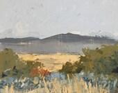 landscape painting original painting rural landscape palette knife neutral colors square landscape on wood pamela munger