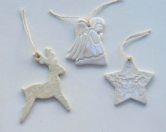 Ceramic Christmas Ornaments, Set of 3 Holiday Ornaments, Handmade, Porcelain