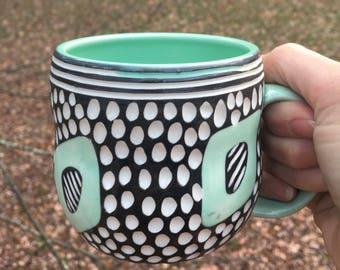 Mod Spot Porcelain Mug turquoise black white