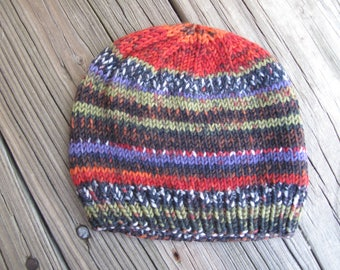 Baby Hat / Beanie Hand-Knitted in Self-Striping Soft Merino Wool (newborn to three months size) OOAK