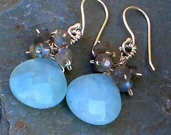 Chrysoprase and Labradorite Earrings Sterling Silver Earrings