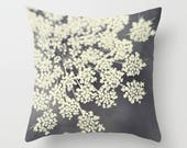 decorative throw pillow, flower photography pillow cover, home decor, black and white, queen annes lace