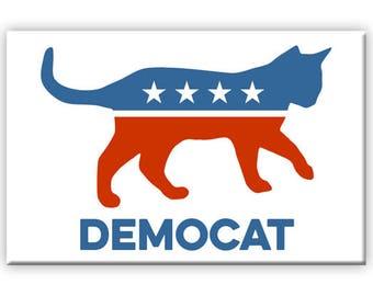 DemoCAT funny political 2 x 3 inch Rectangle Refrigerator Fridge Magnet President Campaign Democrat Republican Cat