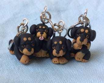 Miniature Dog, Progress Keeper, Rottweiler Stitch Markers, Dog Stitch Markers, Knitting Notion, Tiny Dog, Clay Stitch Markers, Set of 4