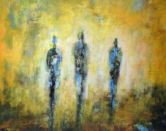 ORIGINAL Abstract Painting  Figure Art  TRINITY -  30x24 - Abstract Fine Art by BenWill