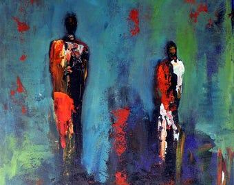 Maasai Figures Turquoise Abstract Art Oil Painting Colorful Painting 30x24 by BenWill