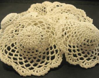 Doll Hats, Crochet Doll Hats, Craft Supply Destash, Set of 8, 3 Inch, Crochet Doll Hats in Beige