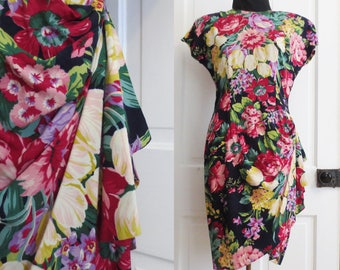 Vintage 80s Dress Short Floral Party Sheath Medium Phoebe Petites Shoulder Pads