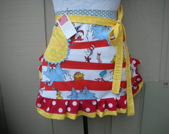 Womens Aprons - Dr. Seuss Apron - Half Apron - The Cat in the Hat Apron - Dr. Seuss - 1957 - Teachers Gift - Robert Kaufman Fabric - Aprons