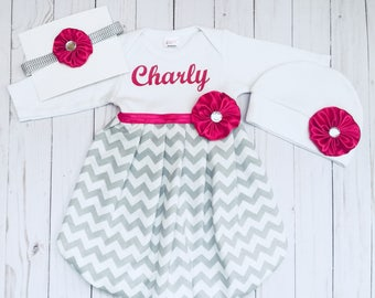 Monogrammed Baby GOWN personalized with your babies name -Grey chevron with hot pink accents--baby girls clothing..option to add accessories