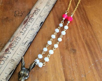 Cute bunny rabbit necklace for summertime gold and coral