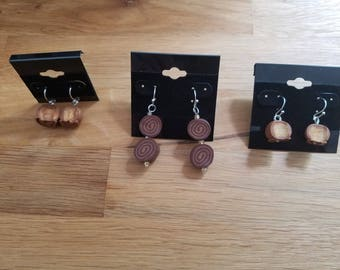 Sweet Chocolate Bon Bon and Swirl no calorie Candy for your ears - earrings on sterling silver wires