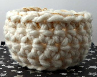 White and Gold Crocheted Soft Bowl
