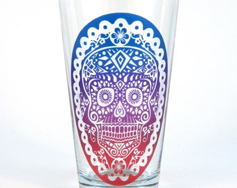 Sugar Skull Pint Glass - Day of the Dead - Dia de los Muertos - Etched Glassware - Custom Painted Beer Glass - Made to Order