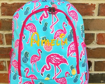 Tropical Flamingo Backpack - Personalized Backpack - Monogram Backpack - Backpack Diaper Bag - Large Backpack - Girl Backpack - Embroidery