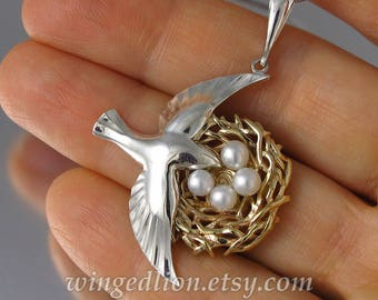 BIRD NEST 14k gold and silver pendant with pearls