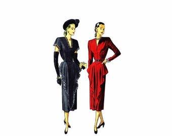 SALE 1940s Front Draped Cocktail Dress Simplicity 2221 Vintage Sewing Pattern Bust 32 Uncut