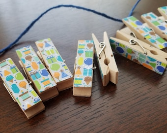 Boy Baby First Birthday Party - Celebration Icons - Balloons Chunky Little Clothespin Clips w Twine for Display - Set of 12 - Gifts Under 10