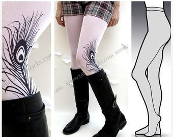 ON SALE/// LARGE/Extra Large sexy Mini and Boots peacock Feather tattoo Full Length  tights / stockings / pantyhose / nylons White