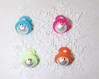 Glass ball snowman ornaments with glittered snowflakes