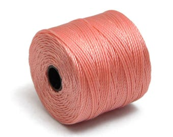 S-Lon Bead Cord - Superlon Bead Cord - Knotting Cord - Macrame Cord -  77 Yard Spool - TEX210 - Coral Pink (4952)