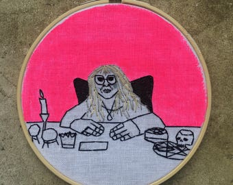 Laurie Cabot  - hand drawn, painted and embroidered hoop art wall hanging #witchaday 18/31