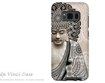 Paisley Buddha Galaxy S8 Case - S8 PLUS Case - Dual Layer Two Piece Tan Buddhist Tough Case - Meditation Mehndi