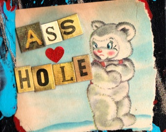 AHole Bear COLLAGE ART