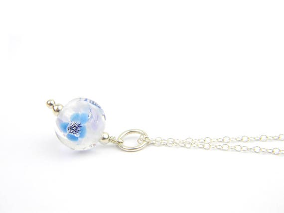 Art Glass Pendant - Small Clear and Blue Art Glass Bead Sterling Silver Pendant - Classic Collection