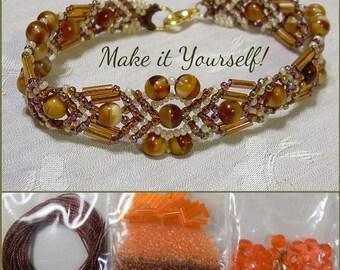 KIT - Beaded Micro Macrame Bracelet - Arrow - Brown and Orange