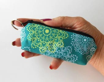 Coin Purse Mini Key Ring Zipper Pouch ECO Friendly Padded Lip Balm Case NEW Teal Sparkles