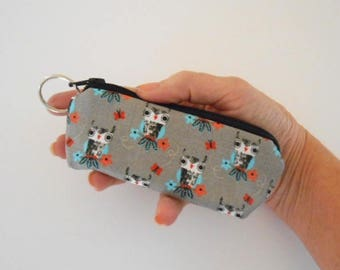 Small Coin Purse Mini Key Ring Zipper Pouch ECO Friendly Padded Lip Balm Case Earbud Pouch NEW Owls on Gray