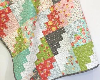 Modern Baby Girl Quilt Handmade Crib Quilt-Nursery Bedding-Crib Bedding-Gray-Coral-Aqua-Pink-green