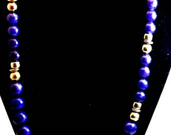 Purple|and|Gold Bead Necklace Vintage 22 Inch Purple Necklace Costume Jewelry Free Shipping in USA