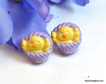 Easter Chicks in a Basket Earrings Vintage Stud Earrings Yellow Chick Earrings Purple Basket Studs Novelty Earrings Free Shipping in USA