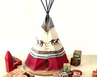 Vintage Teepee, Large Homemade Tee Pee, Western Frontier Children's Room or Lodge Home Decor, Tribal Fabric & Wood, Running Horses