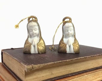 2 Ardalt Praying Angel Bell Ornaments, Gold Painted Bisque Porcelain, Christmas Tree Decorations