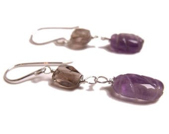 Purple Amethyst and coffee brown smoky quartz gemstones dangle earrings in sterling silver, fashionista jewellery