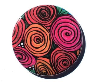 Rose Mirror, Pin, or Magnet - Wedding Party Favor, Stocking Stuffer, Gift Under 5 Dollars - Roses Pocket Mirror, Button Badge, Fridge Magnet