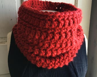 Red Cowl Scarf Soft Chunky Scarf Neckwarmer Cowl